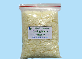 Cationic Dyeing House Softener Flakes Hot Water Soluble For Textile Finishing