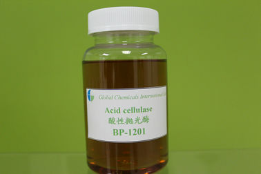 China Low Weight Acid Cellulase Enzyme , Brown Yellow Liquid Textile Enzymes factory