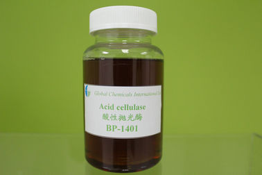 China Acid Cellulase Bio-polishing Enzyme , Yellow Liquid Textile Auxiliary Agents Enzymes factory